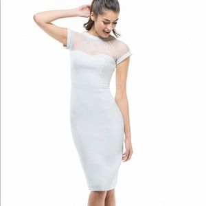 Maggy London Ice Silver Illusion Crepe Dress